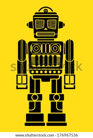 Retro Vintage Tin Toy Robot Figure - stock vector