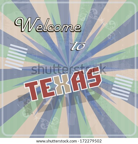 Retro vintage touristic greeting colorful card welcome to taxes text illustration