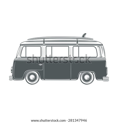 Retro, vintage, travel, camper van, with surf board, isolated on white  background. Vector illustration - stock vector