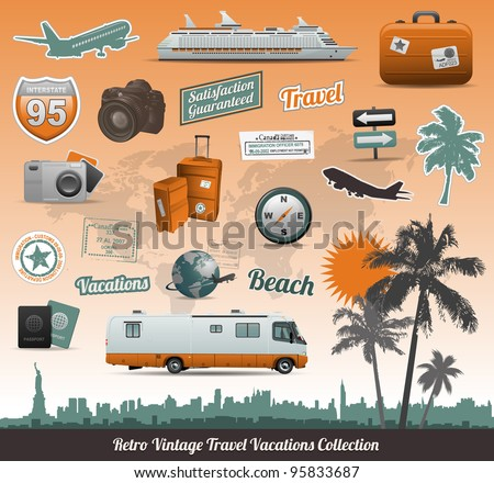 Retro vintage travel icons symbol collection - stock vector