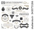 Retro vintage typographic design elements. Arrows, labels, ribbons, logos symbols, crowns, calligraphy swirls, ornaments and other.