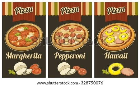 Retro Vintage vector poster whole Pepperoni, Hawaiian, Margherita pizza and the ingredients. For advertising. - stock vector