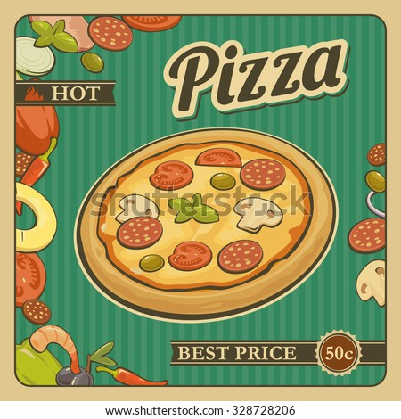 Retro Vintage vector poster whole pizza and the ingredients. For advertising. - stock vector