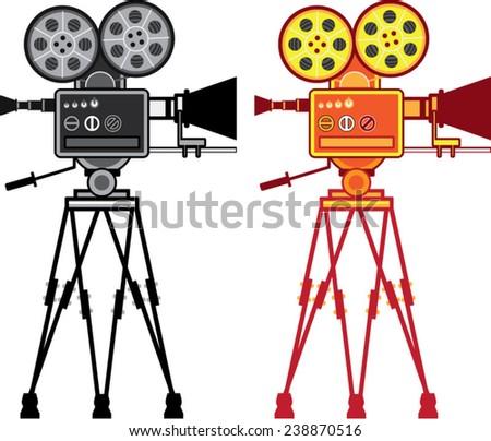 Retro Vintage Video Projector Camera Movie Vector - stock vector
