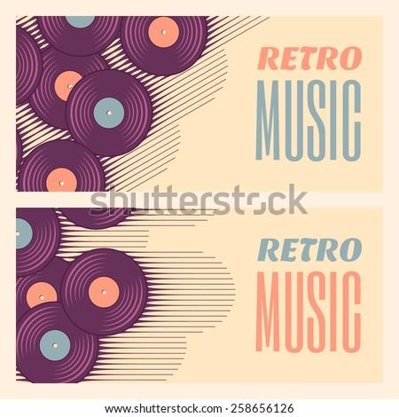 Retro, vintage vinyl record banners. Two retro music templates. Soft colored design elements - stock vector