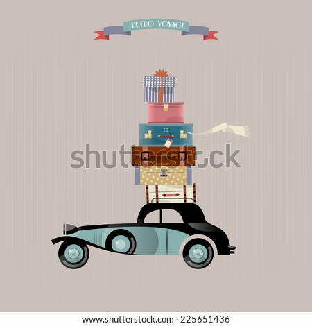 Retro voyage. Car and stack of suitcases. Travel concept. Vector illustration. - stock vector