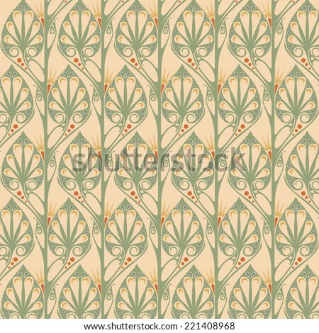 Retro Wallpaper Art Nouveau Stock Vector 221408968 - Shutterstock