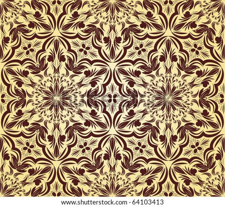 Retro wallpaper with floral elements. Seamless - stock vector