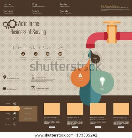 Retro Watertap Infographics and Fltat website template - stock vector