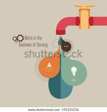 Retro Watertap Infographics design and retro dot pattern texture Background - stock vector