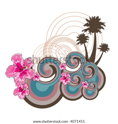 retro waves and pink hibiscus (vector) - illustrated background - stock vector