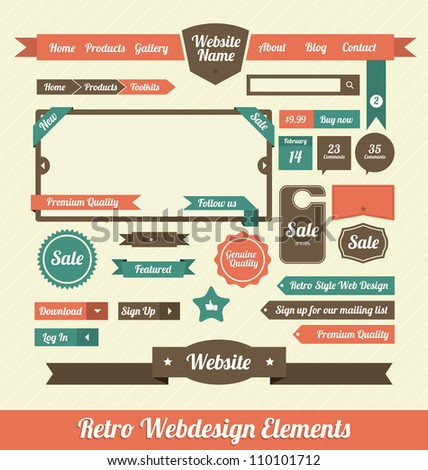 Retro Web Design Elements Stock Vector 110101712 - Shutterstock