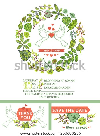 Retro wedding invitation.Cartoon white pigeons with hearts,ribbons and Spring green leaves wreath.Decorative Spring,summer  leaves,text,numbers.Vector design template set - stock vector