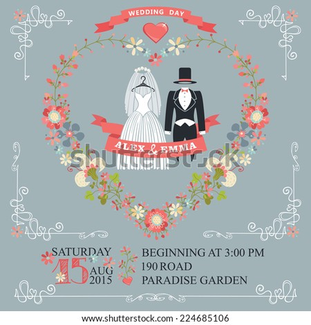 Retro wedding invitation with floral wreath in heart shape. Cute cartoon vintage wedding wear with swirl border,ribbons.Vector design template