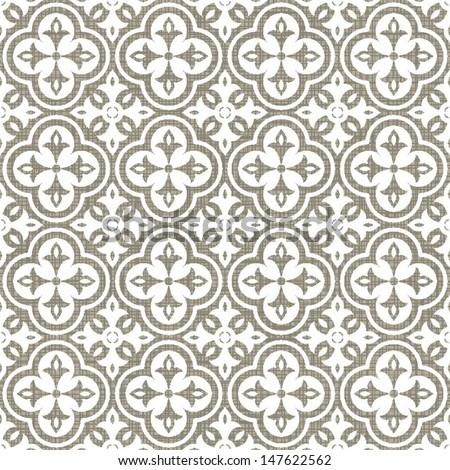 retro white clover shaped elements in rows on gray brown background abstract geometric seamless pattern  - stock vector