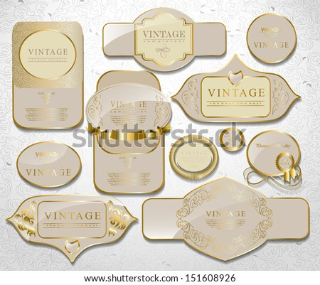 Retro white gold label/ can be used for invitation, congratulation or website layout vector - stock vector