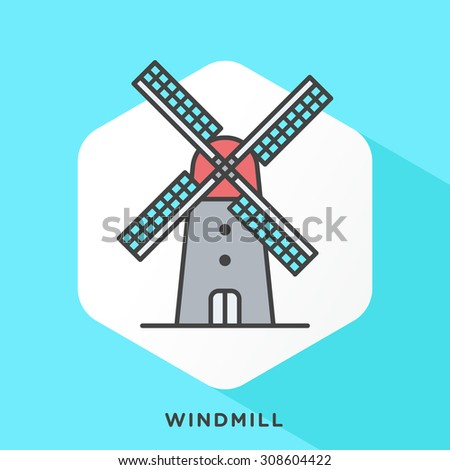 Retro windmill icon with dark grey outline and offset flat colors. Modern style minimalistic vector illustration for old windmill, water pump, agricultural or building purposes. - stock vector