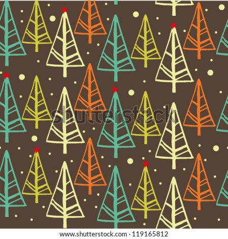 retro winter pattern with christmas tree - stock vector