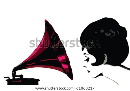 retro woman and gramophone - stock vector