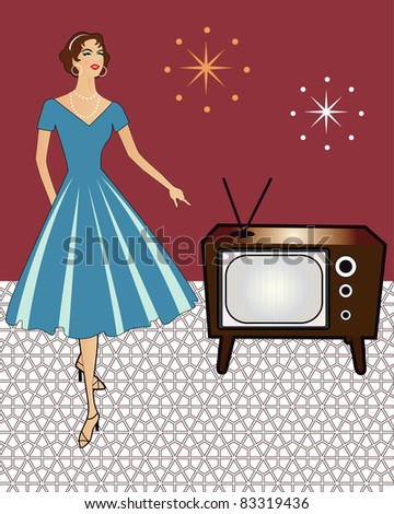 retro woman and tv set - stock vector