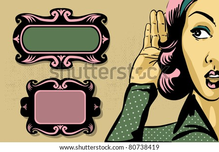 retro woman listening to gossip, comics style illustration and vintage frames - stock vector