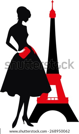 Retro woman red and black silhouette with Eiffel Tower - stock vector
