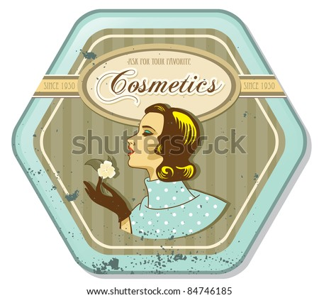 retro woman vintage cosmetics tin label - stock vector