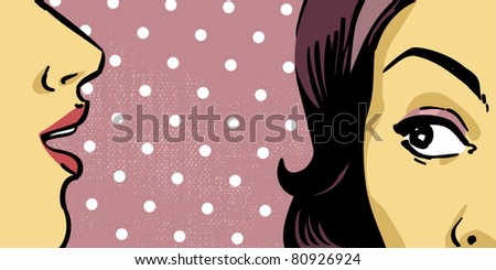 retro women vector drawing illustration, mouth and eye close up, retro background - stock vector