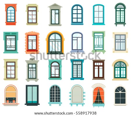 Retro wood wooden window frames view stock vector for Window design clipart