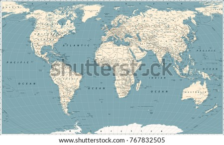 Retro world map main state roads stock vector royalty free retro world map and main state roads large detailed world map vector illustration gumiabroncs Choice Image