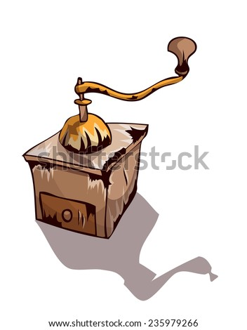 Retro Worn Down Coffee Grinder, Vector Illustration isolated on White Background. - stock vector
