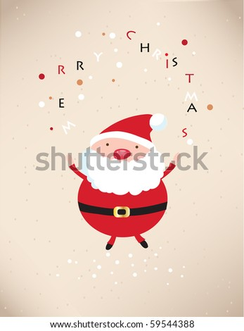 Retro xmas card with happy santa - stock vector