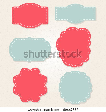 Retro xmas frames in red and blue. Vector