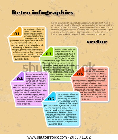 retro yellow infographics with color labels and grunge background