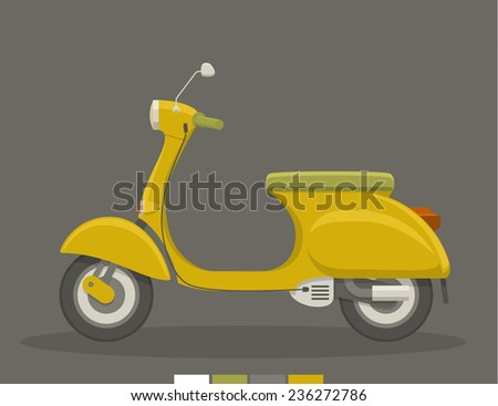 Retro yellow retro scooter in a cartoon graphic style. EPS10 vector illustration. - stock vector