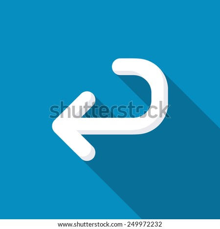 Returning arrow icon. Modern design flat style icon with long shadow effect - stock vector