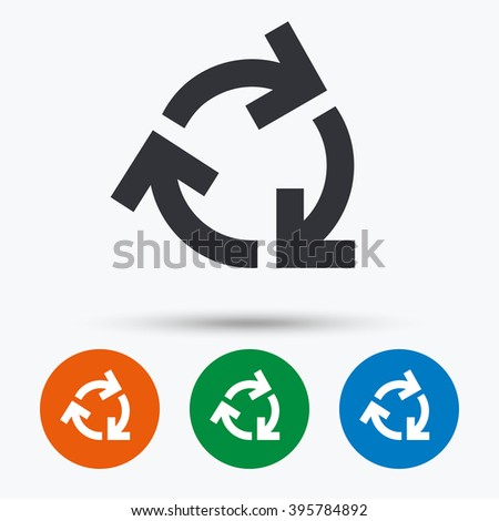 Reuse or reduce icon. Reuse or reduce flat symbol. Reuse or reduce art illustration. Reuse or reduce flat sign. Reuse or reduce graphic icon. Flat icons in circles. Round buttons for web. - stock vector