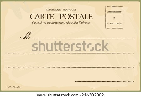 Reverse of postcard. In the style of French postcards from the early 20th century. Vector illustration without gradients. Base for further editing and adding any textures.  - stock vector