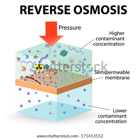 reverse osmosis use the membrane to act like an extremely fine filter to create drinking water from contaminated water. Pressure forcing water molecules through the membrane. - stock vector