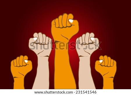 Revolution hands up background - stock vector