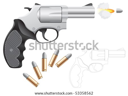 Revolver and bullets isolated on the white background - stock vector