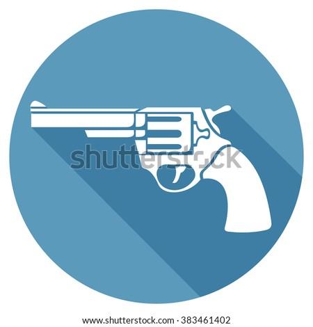 revolver flat icon (pistol vector, handgun) - stock vector