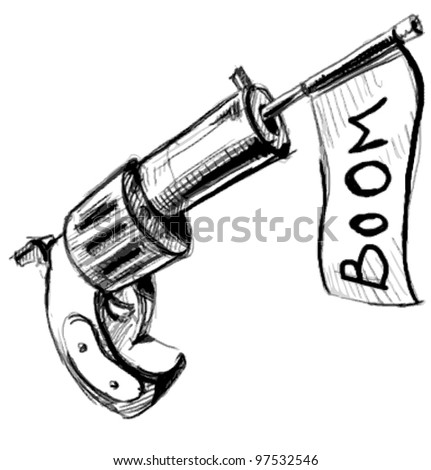 Revolver icon with checkbox.  Hand drawing sketch vector illustration isolated on white background - stock vector