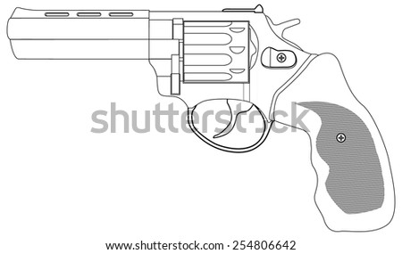 Revolver - vector drawing isolated on white background