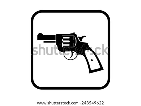 Revolver vector icon on white background - stock vector