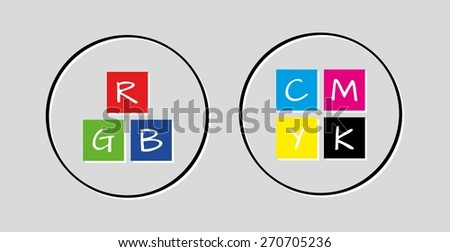 rgb and cmyk icons on gray background - stock vector