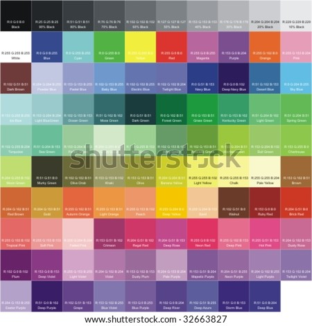 RGB color palette with the signatures of colors - stock vector
