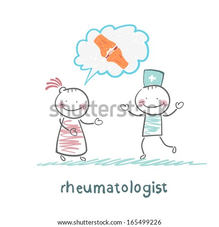 rheumatologist listens to the patient, who speaks of the pain in the joints - stock vector