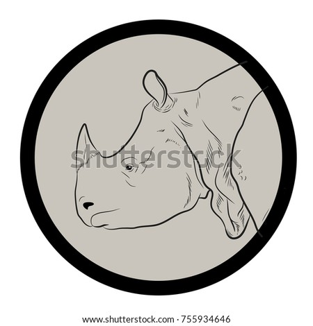 Rhino Face Closeup Vector