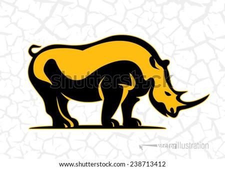 Rhino. Logo style - stock vector
